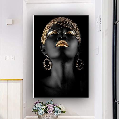 KWzEQ Skandinavische Wandkunst des afrikanischen schwarzen nachdenklichen Frauenölgemäldes auf Leinwand,Rahmenlose Malerei,30x45cm