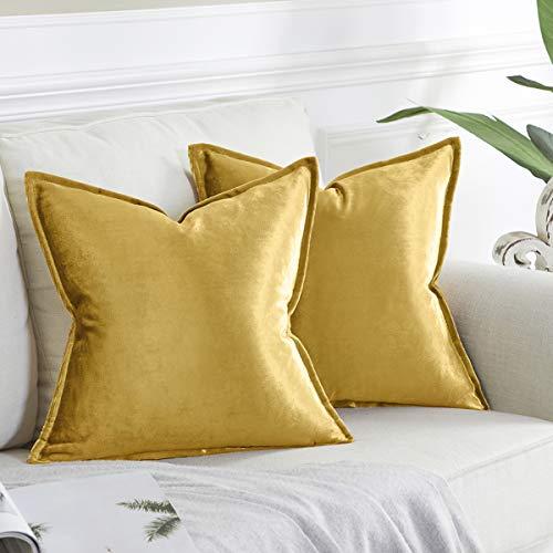 OMMATO Kissenbezug 45x45 cm Gold Kissenbezüge Samt dekorative Kissenhülle 2er Set Dekokissen für Sofa Schlafzimmer Wohnzimmer Auto