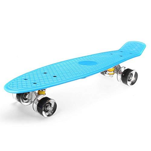 TSAUTOP Newest Tablero de Pescado de 22 Pulgadas M-i-ni Rueda M-i-ni Crucero Skate Tableros de Skate Tablero de niño LED LED (Color : Blue)