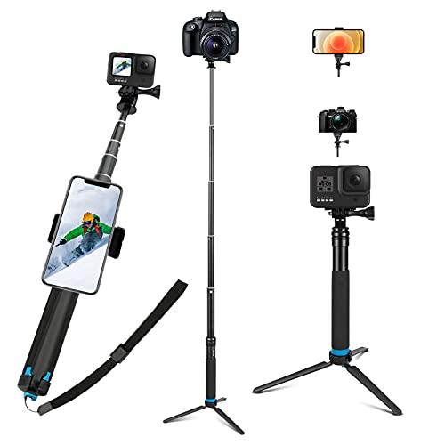 JYPS Bastone Selfie per Gopro con Treppiede in Lega di Alluminio + Clip per Smartphone Adatto per GoPro Hero(2018) Hero 9 8 7 6 5 4 3+ 3 2 1 Session, AKASO, Xiaomi Yi,SJCAM SJ4000 SJ5000 More