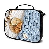 Bolsas de Maquillaje Copa Cappuccino Croissant Azul Pastel Gigante Maquillaje Tren Estuches Bolsa de Maquillaje Profesional de Viaje Estuches cosméticos