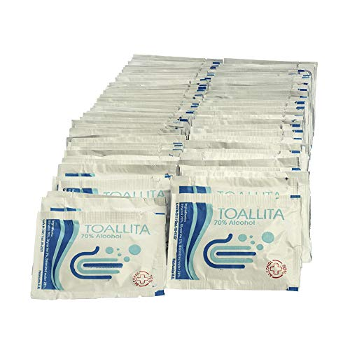 Pack de 100 Toallitas desinfectantes de manos y superficies Desechables 60 x80 mm con 70% - 75% de alcohol desinfectante ideal para manos, moviles, pantallas