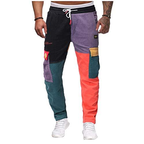 2021 Nuevo Pantalones para Hombre, Chándal de hombres Pantalones Casual Moda Deportivos Patchwork Pana Pants Jogging Fitness Gym Slim Fit Largos Pantalones Ropa de hombre Pantalones de Trekking