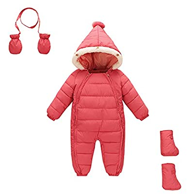 Mud Kingdom 3 Piece Baby Toddler Girl All in One Snowsuit Romper Winter 3-12M Pink