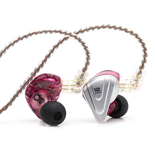 Linsoul KZ ZSX 5BA+1DD 6 Driver Hybrid in-Ear HiFi Earphones with Zinc Alloy Faceplate, 0.75mm 2 Pin Detachable Cable for Audiophile Musician (Without mic, Purple)
