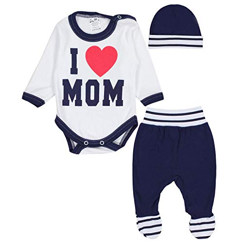 TupTam Baby Kleidung Set Body Strampelhose Mütze Teddybär, Farbe: I Love Mom Dunkelblau, Größe: 56
