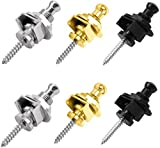 HQDeal 3 Pair Guitar Strap Lock Set Straplock Buttons Quick Release Strap Retainer System for Electric Acoustic Guitar, Bass, Ukulele(Gold, Silver,Black)
