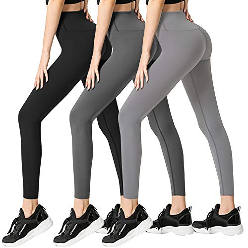 FULLSOFT Leggings for Women-High Waisted Soft Athletic Tummy Control Pants for Running Cycling Yoga Workout(3/7pack) (02-Black+deep Gray+Gray (3 Pack), Large/X-Large)