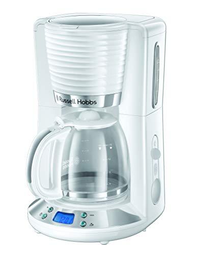 Russell Hobbs Digitale Kaffeemaschine Inspire weiss, programmierbarer Timer, 1,25l Glaskanne, bis 10 Tassen, Warmhalteplatte, Abschaltautomatik, 1100W, Filterkaffeemaschine 24390-56