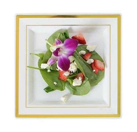 Elegante quadratische Teller aus Hartplastik, hochwertige Salatteller aus Kunststoff, Dessertteller aus Knochenholz mit goldfarbenem Rand – Packung von 25 - 18 cm