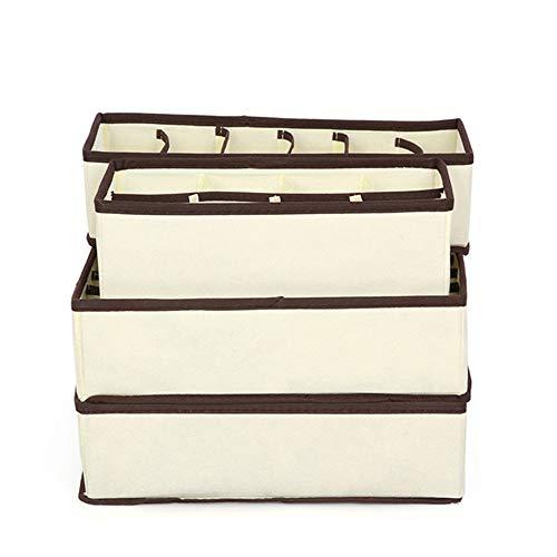 Jemma Faltbarer Schubladen-Organizer für Kleidung, 24/8/7/6 Fächer, Schubladen-Organizer zur Aufbewahrung von Socken, BHs und Krawatten, 4 Stück, beige