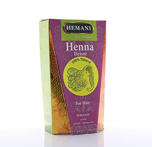 Hemani Burgundy Henna Hair Color 100% Natural PPD Free I Ammonia Free I 100 Grams (4 Sachet of 25g each) I Henna for Hair I Natural I Chemical Free