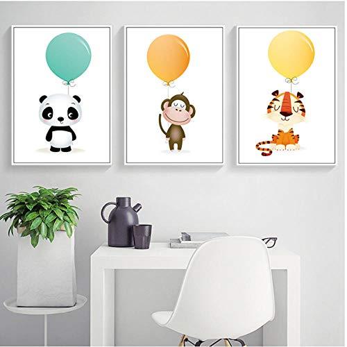 Liangzheng Nordic Minimalist aquarel ballon Panda AFFE tijger dier canvas schilderij kunstdruk poster afbeelding kinderkamer huis decoratie 40x60cmx3 niet ingelijst