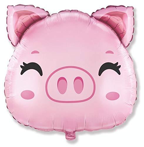 Schwein Schweinekopf ca. 80 cm x 80 cm Luftballons Folienballon Party Dekoration Geburtstag
