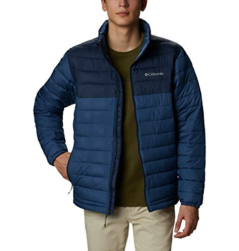 Columbia Men's POWDER Lite Winter Jacket, Water Repellent, Night Tide/Collegiate Navy, Medium