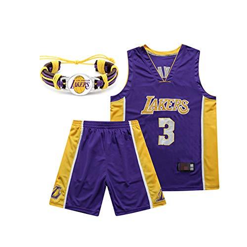 WERT Herren-Basketball-Trikots - L.A. Lakers Basketball Jersey Anzug, Lebron James # 23, Kobe Bryant # 24# 8, Anthony Davis Jr. # 3, Shaquille O'Neal # 34, Basketball Swingman Jersey P #3-XL