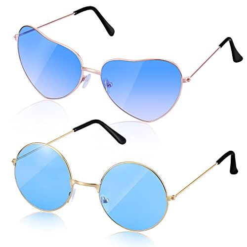2 Paare Hippie Sonnenbrille Herren Damen Brille (Gold Runde/Herzform)