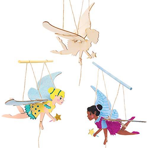 Baker Ross Kits Marionetas Voladoras de Madera Hadas - Actividad de manualidades primaverales infantiles para montar y exhibir (Paquete de 3)