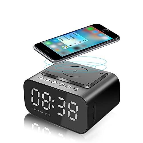 Reloj Despertador Altavoz Bluetooth Bluetooth Radio FM No Ticking con Cargador USB y Carga de Qi inalámbrica 10W, Pantalla LED Digital de 3 Niveles LED