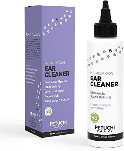 PETUCHI Premium Oorreiniger voor honden; Reinigt, desinfecteert en stopt jeuk; 150ml