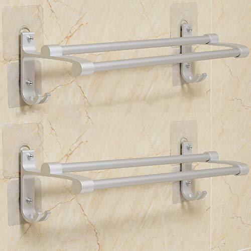 Hawsam Sin Taladrar Doble Toallero de Baño - Barra de Toallas Adhesivo de Aluminio Toalleros de Almacenamientos con 2 Ganchos (2 Piezas)