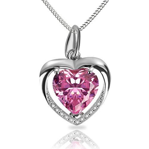 Collar Mujer corazón Plata 925 Colgante, con Para Regalo San Valentín Originales Cadena 45cm Longitud, Collar Rosa Regalos de cumpleaños para Esposa, Madre, Hija