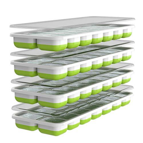 Oliver's Kitchen - Juego de 4 x Moldes de Cubitos de Hielo - Base Flexible para una Extracción Fácil - Tapas Apilables Antiderrames - Aptos para lavavajillas - Moldes de Silicona sin BPA