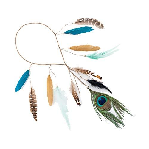 LONGBLE hoofdband met veer, Indiaans kostuum, boho, haarsieraad met handgeweven kwasten, pauwenveren, houten parel, instelbaar, verensieraad, hoofdtooi