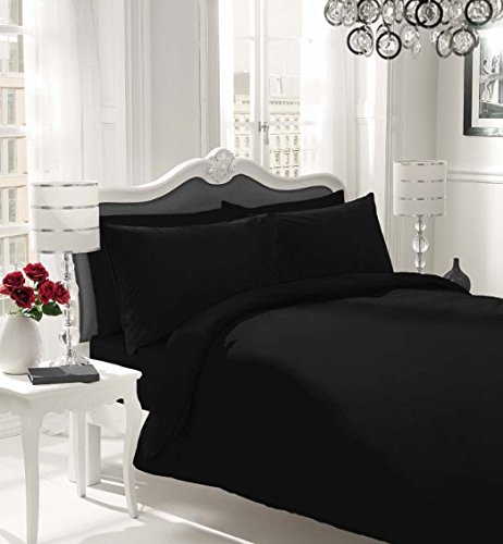 Rohi Non-Iron Duvet Cover Quilt Cover Set Pillow cases. - Single, Double, King & Super King (Single, Black)
