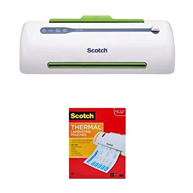 Scotch PRO Thermal Laminator, 2 Roller System (TL906) & Thermal Laminating Pouches 8.9 x 11.4 Inches 3 mil, 100-Pack