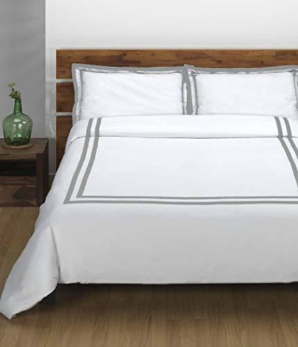 Sibiles - Juego Funda Nórdica Blanca Hotel con Cenefa Cinta Gris Percal 144 Hilos (Cama 150/160)