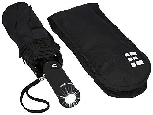 Compact amp Automatic Travel Umbrella w/Flashlight Handle Black