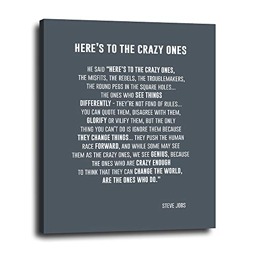 Steve Jobs Quote Inspirational Wall Art 16x20 - Motivational - Hers to the Crazy Ones Artwork for Office, Home - Thoughtful Gift for Coworker, Entrepreneur, Boss - Ready to Hang Poster Print