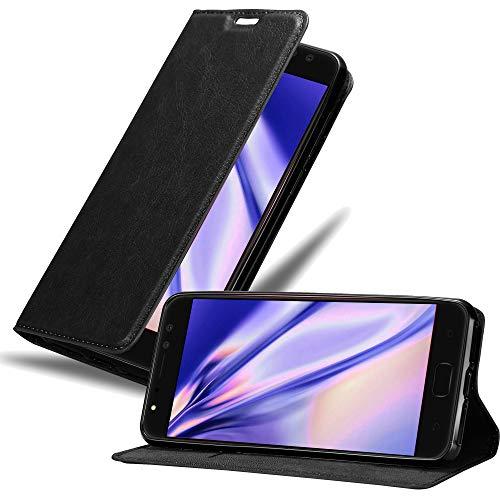 Cadorabo Hülle für Asus ZenFone 4 Selfie PRO - Hülle in Nacht SCHWARZ – Handyhülle mit Magnetverschluss, Standfunktion & Kartenfach - Case Cover Schutzhülle Etui Tasche Book Klapp Style