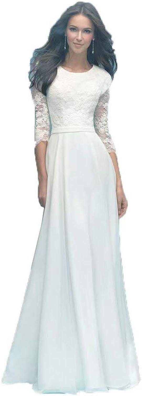 Unions Women's Round Neck Wedding Dress for Bride Lace Applique Bridal Gown