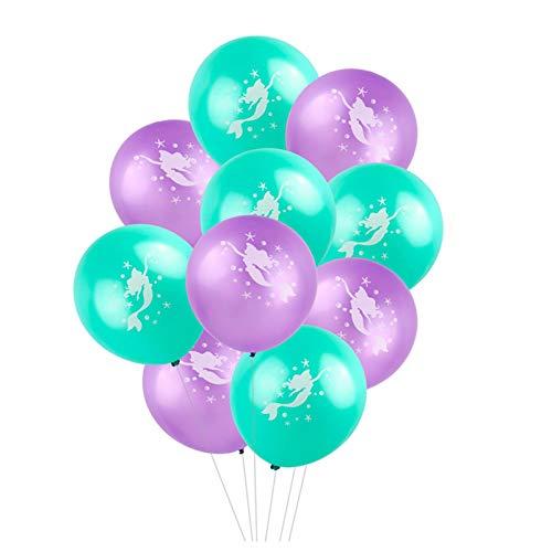 vlovelife 50Mermaid Luftballons, 30,5cm Latex Mermaid Muster Luftballons für Hochzeit Geburtstag Brautschmuck Baby Dusche Party Supply Dekorationen 12'' 25pcs Purple + 25pcs Teal Green