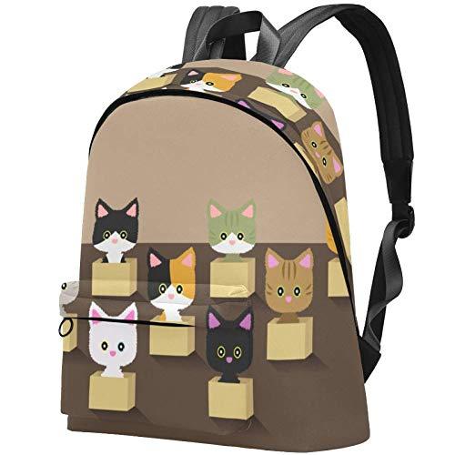 Katze im Karton Bag Teens Student Bookbag Leichte Umhängetaschen Reiserucksack Tägliche Rucksäcke