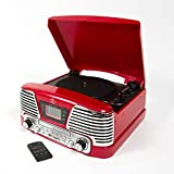 GPO Memphis 4-in-1 Music Centre with CD Player, FM Radio, Portable 3-Speed Record Player with Built-in Stereo Speakers, Vinyl Turntable Record Player, Red