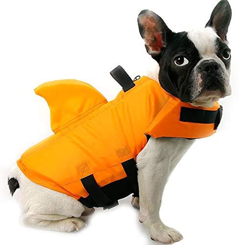 DINGG Haifischflossen-Heben Life Jacken Pet Safety Swimsuit Floatation Life Vest Preserver-Durable Grab Handle Adjustable Belt Pool/Beach/Boot-XS ~ XXL für 1~50KG Hunde,Orange,L