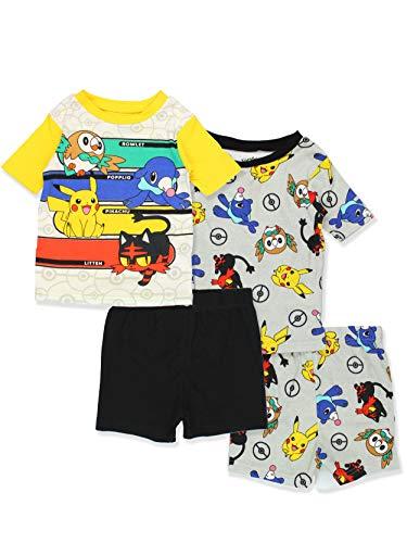Pokemon Pikachu Boy's 2fer 4 Piece Cotton Pajamas Set (4, Grey/Multi)