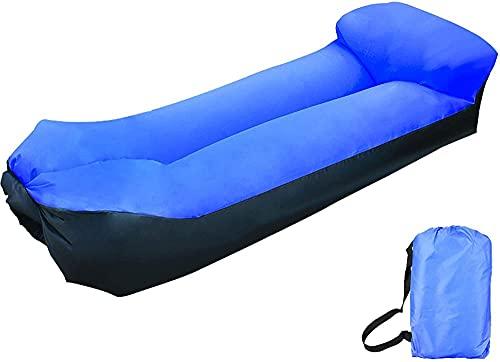 KLJLFJK Sofá Inflable,Sillón reclinable Inflable Impermeable y a Prueba de Fugas,2021 actualizado Silla Inflable,Una Cama Inflable Adecuada para Acampar&Playa-Azul Real