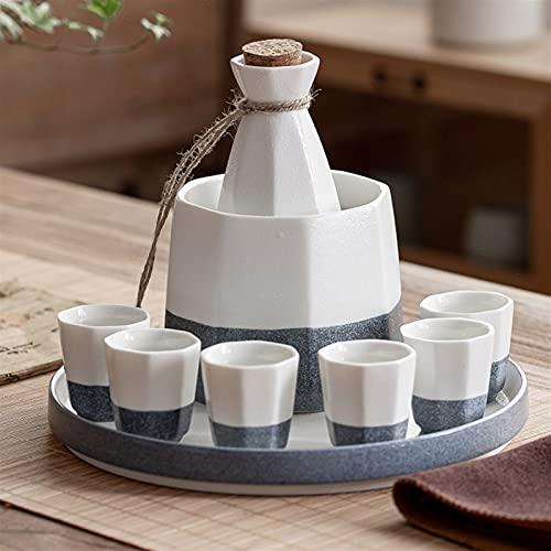 ZAT Juego de vinos de cerámica Japonesa, Octagonal con glaseado de Copo de Nieve, Botella de Vino 1x, Copa 6X, contenedor de Vino 1x, 1 Bandeja Rectangular