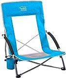 Timber Ridge Strandstuhl Campingstuhl Tragbar klappbar Faltbar Klappstuhl mit Tragetasche Getränkehalter niedrig leicht bis 135 kg belastbar blau