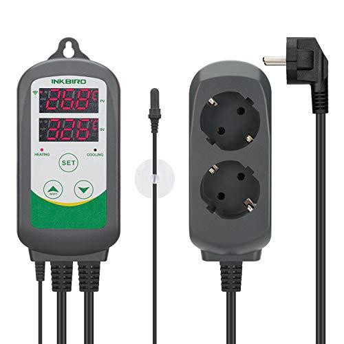 Inkbird ITC-308 WiFi Termostato Digital con Sonda de Acuarios, App Control Remoto la Temperatura Rango de Calentador y Enfriador para Acuarios, Cerveza Casera, Planta de Invernadero y Incubación