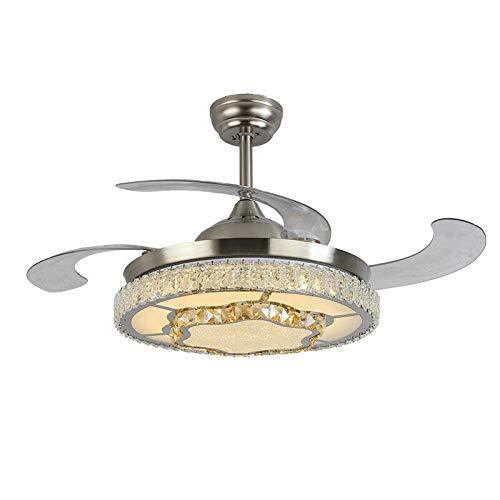 Ventilador de techo iluminación con mando a distancia, ventilador de techo LED con luz regulable, plafón con ventilador silencioso, 42 pulgadas, color plateado.
