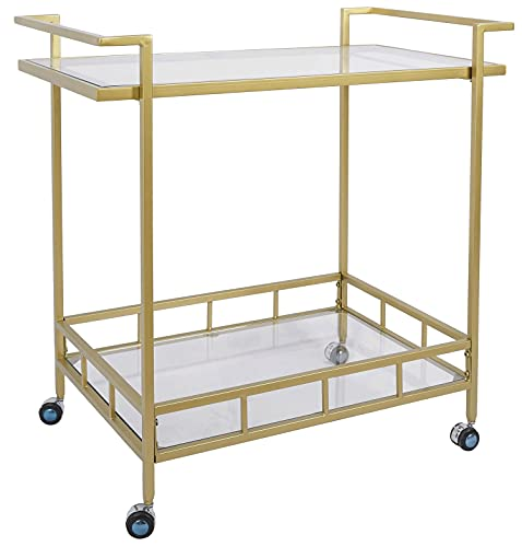 Gold Rolling Wine Bar Cart 2 Tiered Glass Shelves with Lockable Casters for Home Kitchen Club, 30