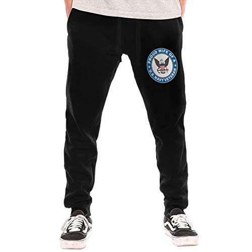 M009USFA Us Navy Veteran Proud Wife Sweatpants, Fleece Gym Jogger Sweatpants for Men Large