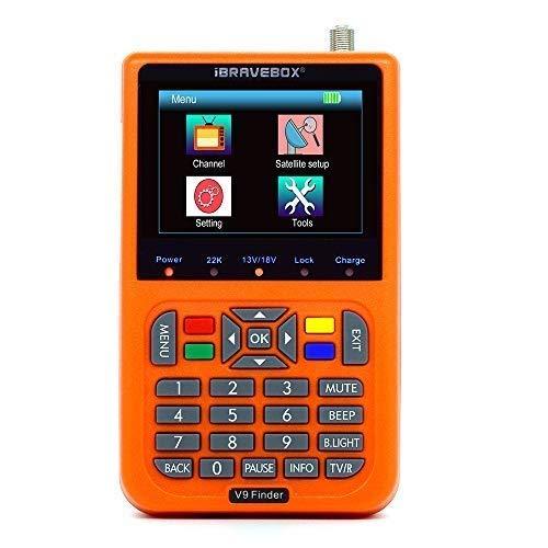 KKmoon V9 Digital Satellite Finder Digital Satellite Signal Finder Meter SAT-Finder con Display LCD da 3,5 pollici,Lingua OSD,Automatica PAL NTSC(Arancione)