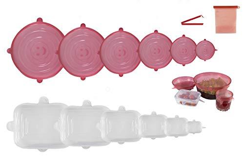 Alisya Coperchi in Silicone Estensibile Adatti a Tutti i Contenitori per Alimenti - Set 6 Tappi Rotondi 6 Rettangolari Ermetici e Riutilizzabili - Sacchetto in Silicone e Clip - Senza BPA