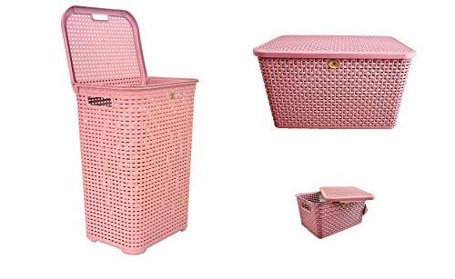 Kit de 3 pzas. Cesto/Canasto/Organizador/Cesta para ropa, material Rattan, para almacenamiento muy resistentes y prácticos ideal para el hogar, baños, recámara, lavandería. (Rosa)